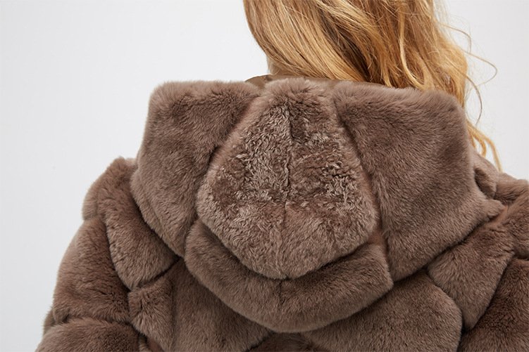 Hooded Reversible Rex Rabbit Fur Jacket with Down Filled 960 Details 27