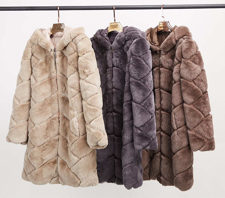 Hooded Reversible Rex Rabbit Fur Jacket with Down Filled 960 Details 3
