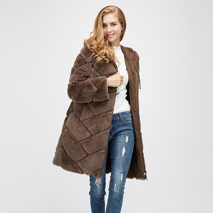 Hooded Reversible Rex Rabbit Fur Jacket with Down Filled 960 Details 5