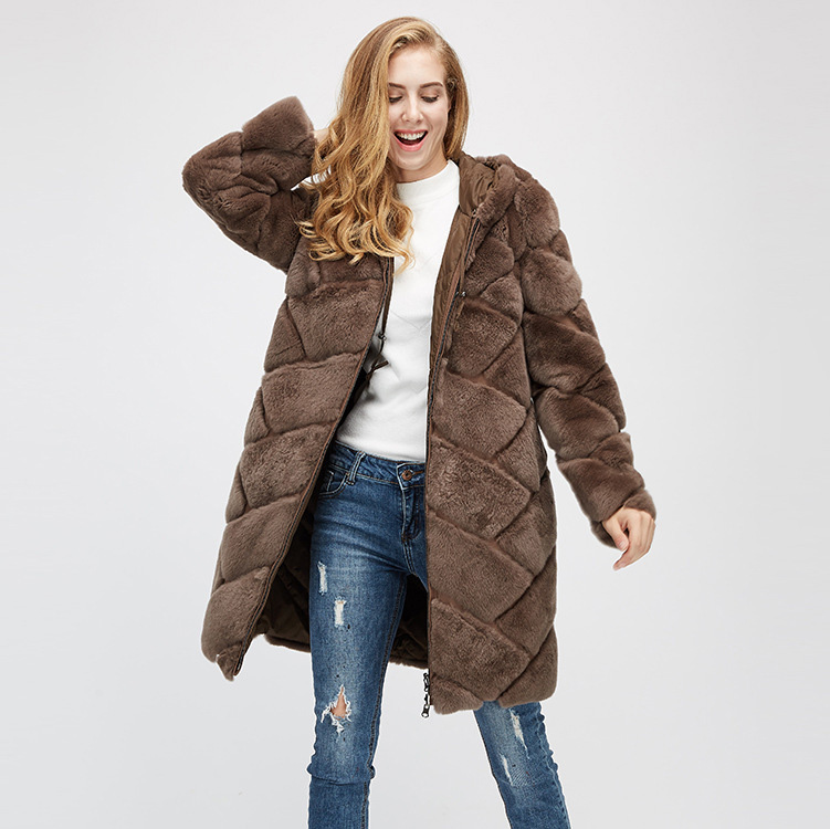 Hooded Reversible Rex Rabbit Fur Jacket with Down Filled 960 Details 6