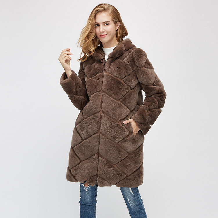 Hooded Reversible Rex Rabbit Fur Jacket with Down Filled 960 Details 7