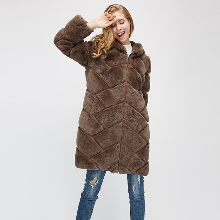 Hooded Reversible Rex Rabbit Fur Jacket with Down Filled 960 Details 8