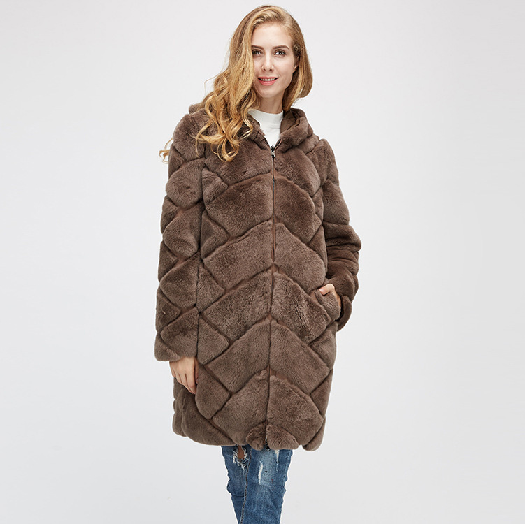 Hooded Reversible Rex Rabbit Fur Jacket with Down Filled 960 Details 9