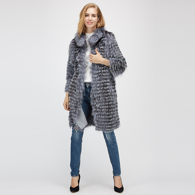 Knitted Silver Fox Fur Coat 962 Details 1