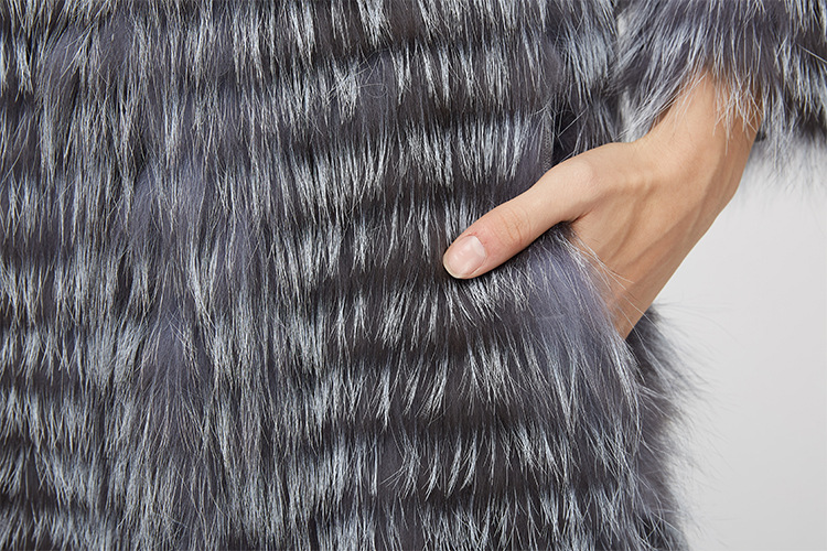 Knitted Silver Fox Fur Coat 962 Details 10