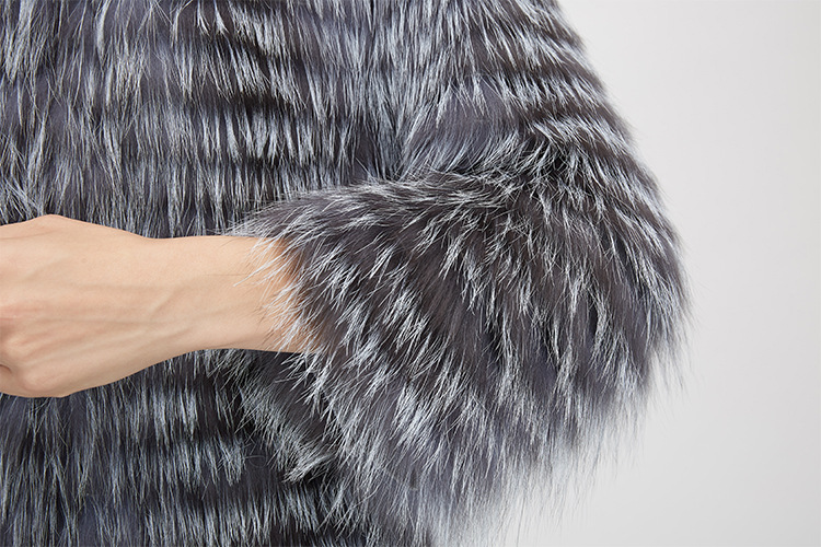 Knitted Silver Fox Fur Coat 962 Details 11