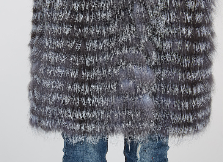 Knitted Silver Fox Fur Coat 962 Details 12