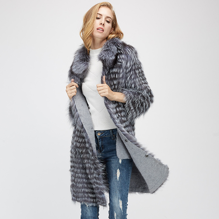 Knitted Silver Fox Fur Coat 962 Details 2