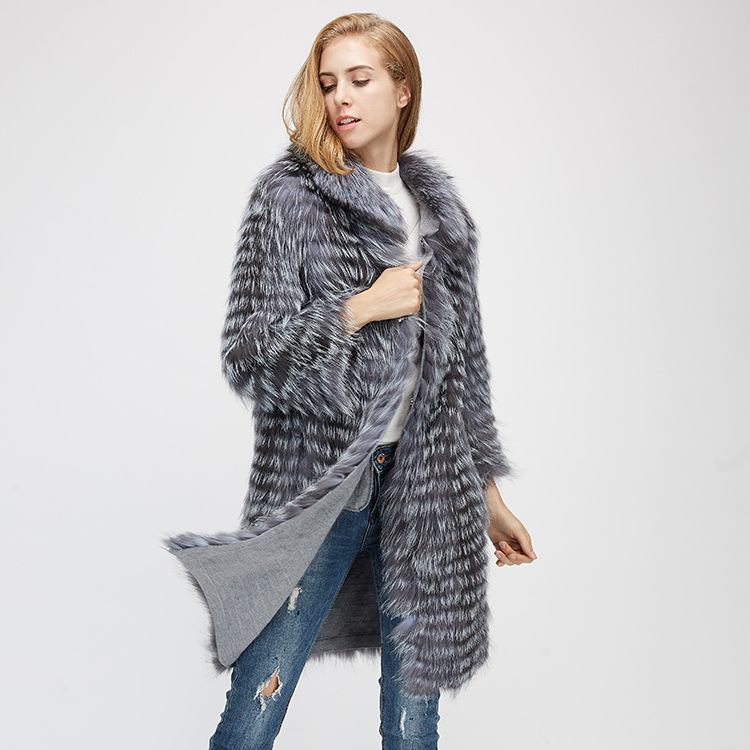 Knitted Silver Fox Fur Coat 962 Details 3