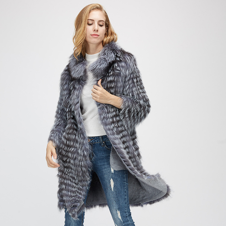 Knitted Silver Fox Fur Coat 962 Details 4