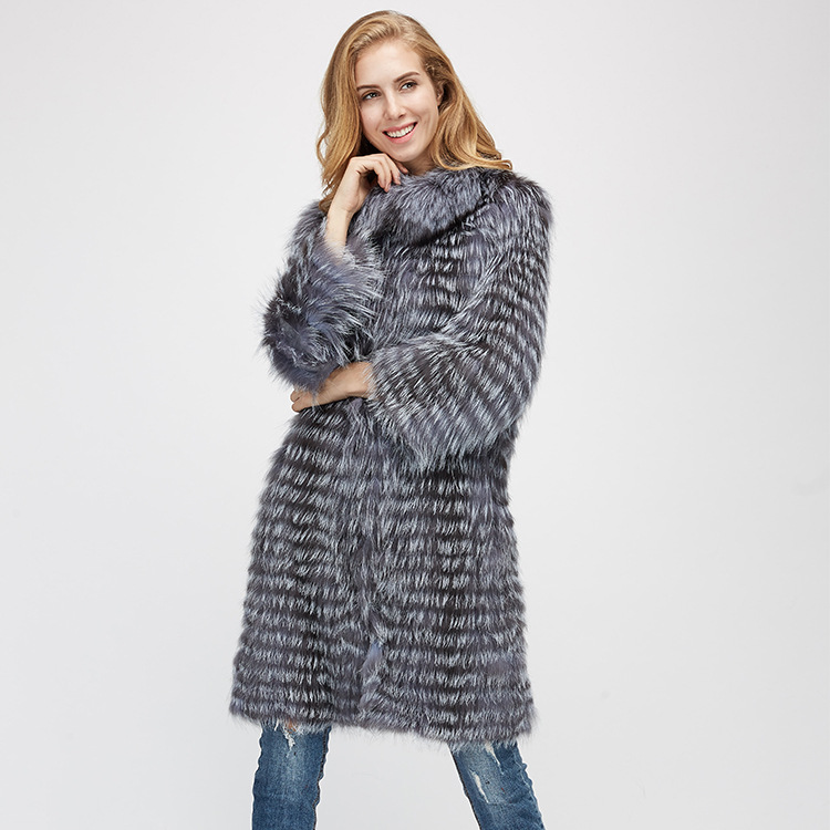 Knitted Silver Fox Fur Coat 962 Details 5