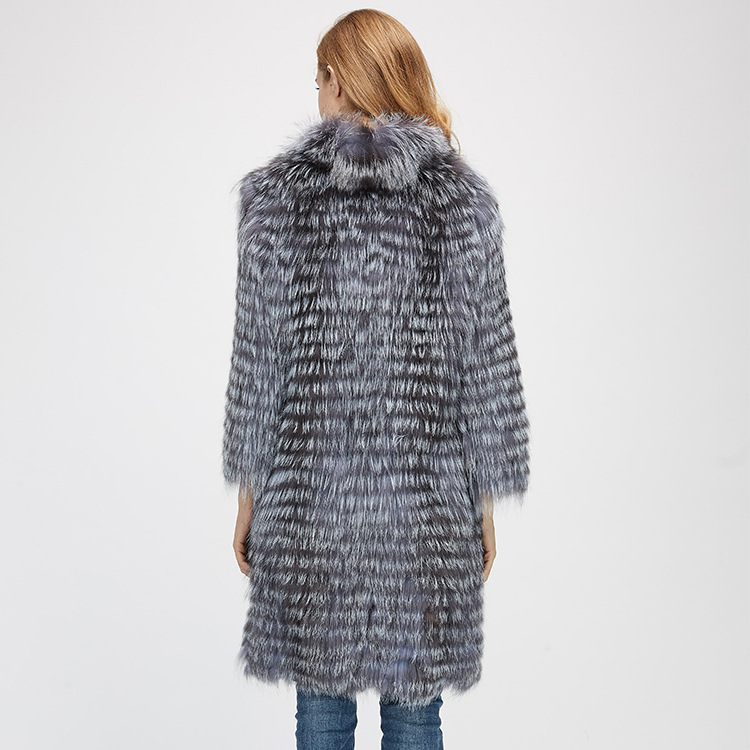 Knitted Silver Fox Fur Coat 962 Details 8