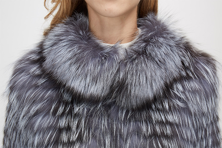 Knitted Silver Fox Fur Coat 962 Details 9