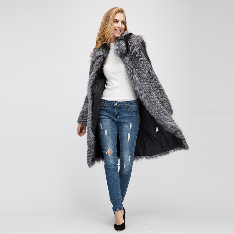 3-4 Length Silver Fox Fur Coat 966 Details 1
