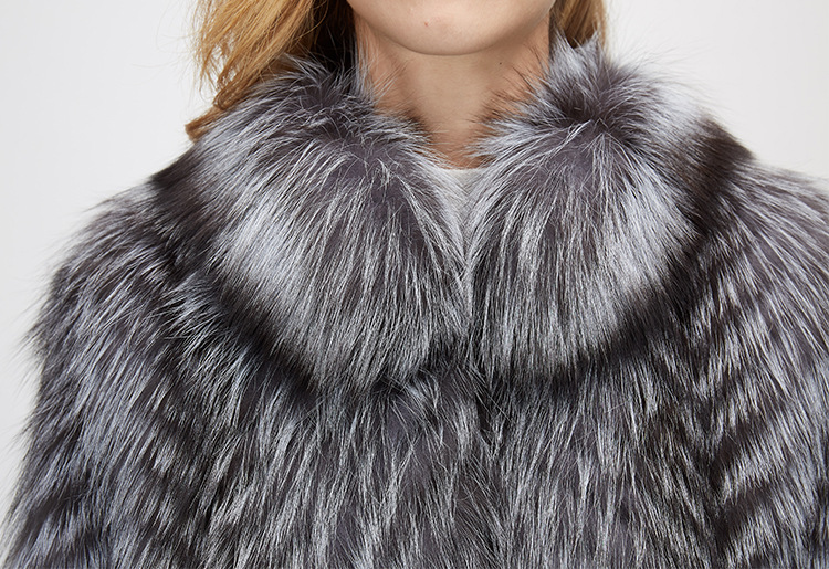 3-4 Length Silver Fox Fur Coat 966 Details 10