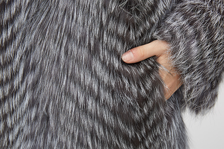 3-4 Length Silver Fox Fur Coat 966 Details 11