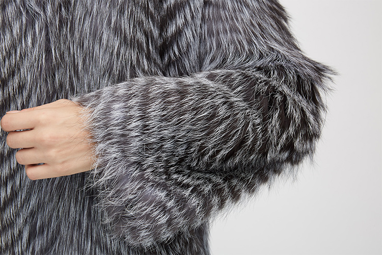 3-4 Length Silver Fox Fur Coat 966 Details 12