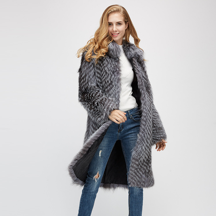 3-4 Length Silver Fox Fur Coat 966 Details 2