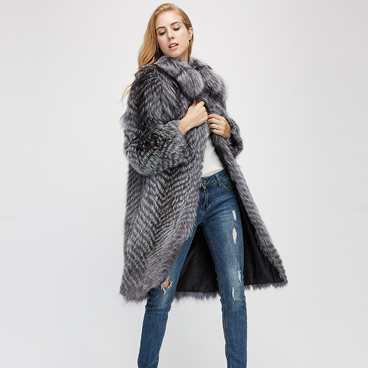 3-4 Length Silver Fox Fur Coat 966 Details 3