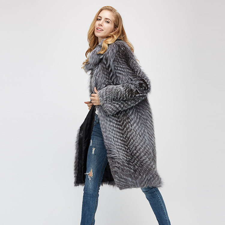 3-4 Length Silver Fox Fur Coat 966 Details 4