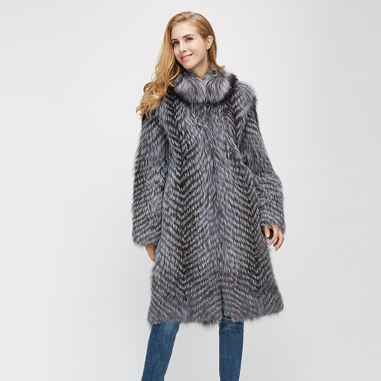 3-4 Length Silver Fox Fur Coat 966 Details 5