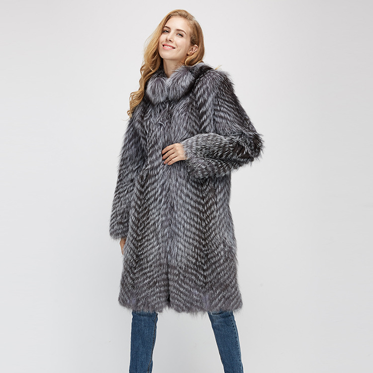 3-4 Length Silver Fox Fur Coat 966 Details 6