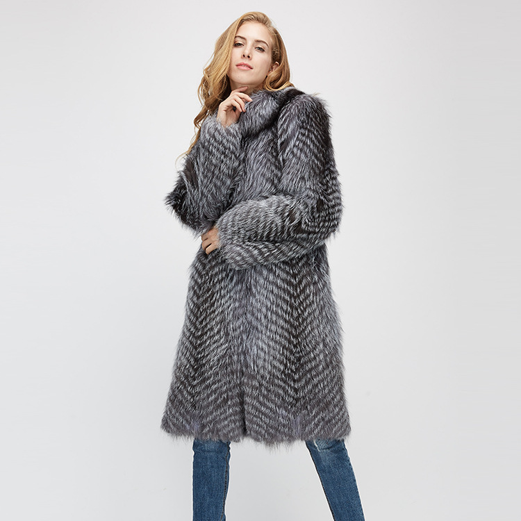 3-4 Length Silver Fox Fur Coat 966 Details 7