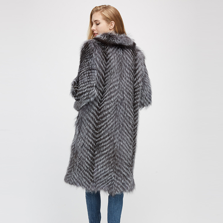 3-4 Length Silver Fox Fur Coat 966 Details 8