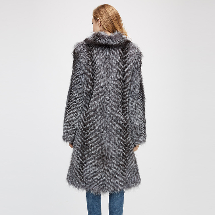 3-4 Length Silver Fox Fur Coat 966 Details 9