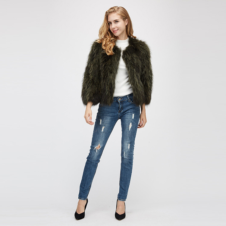 Cropped Raccoon Fur Jacket 972 Details 1