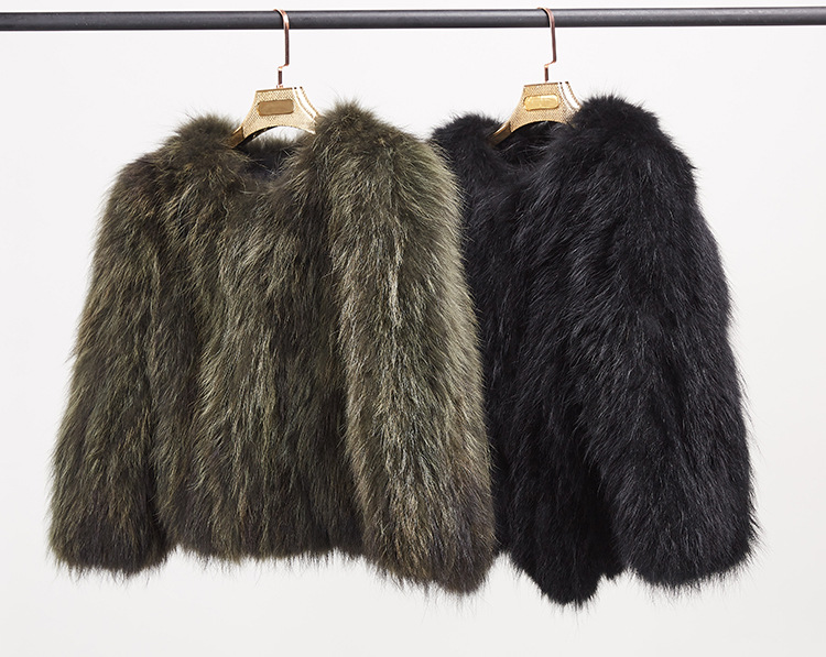 Cropped Raccoon Fur Jacket 972 Details 10