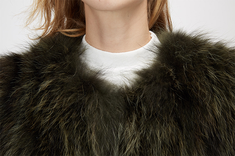 Cropped Raccoon Fur Jacket 972 Details 13