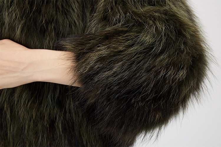 Cropped Raccoon Fur Jacket 972 Details 14