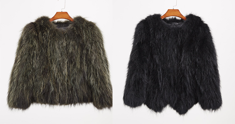 Cropped Raccoon Fur Jacket 972 Details 2
