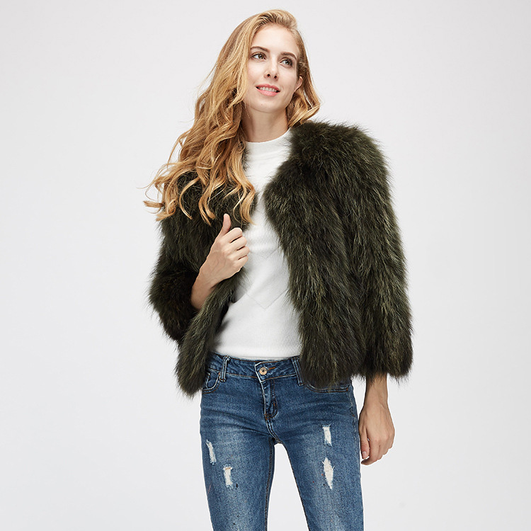Cropped Raccoon Fur Jacket 972 Details 3