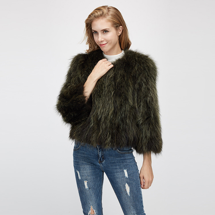 Cropped Raccoon Fur Jacket 972 Details 5