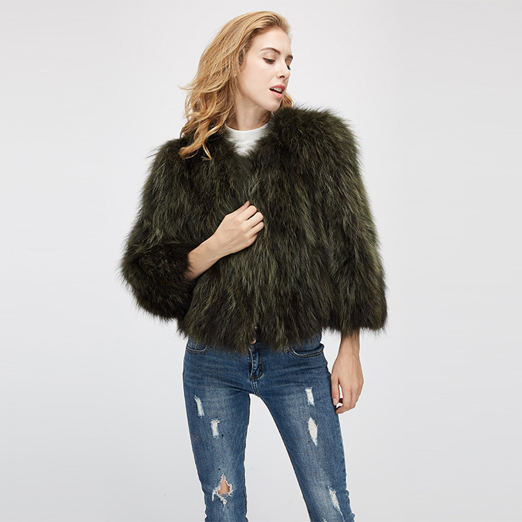 Cropped Raccoon Fur Jacket 972 Details 6