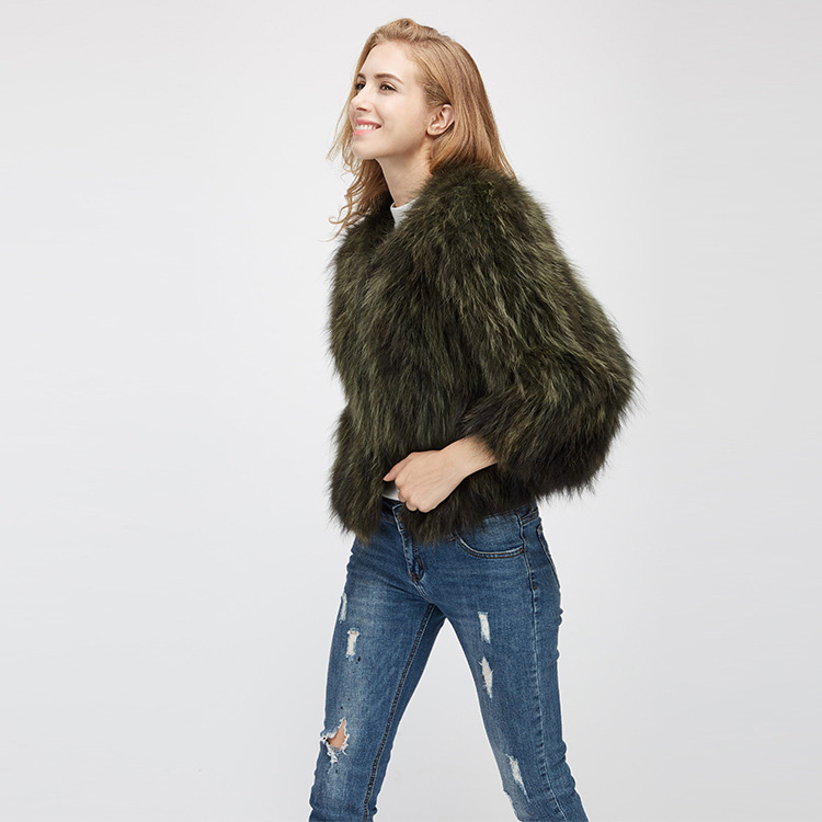 Cropped Raccoon Fur Jacket 972 Details 7