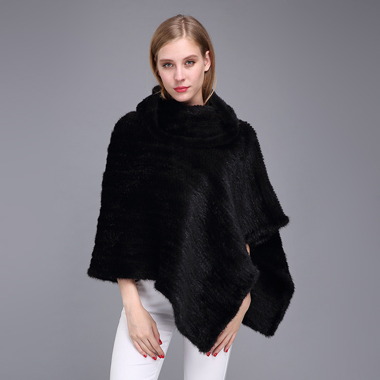 Knitted Mink Fur Poncho 974 Details 1