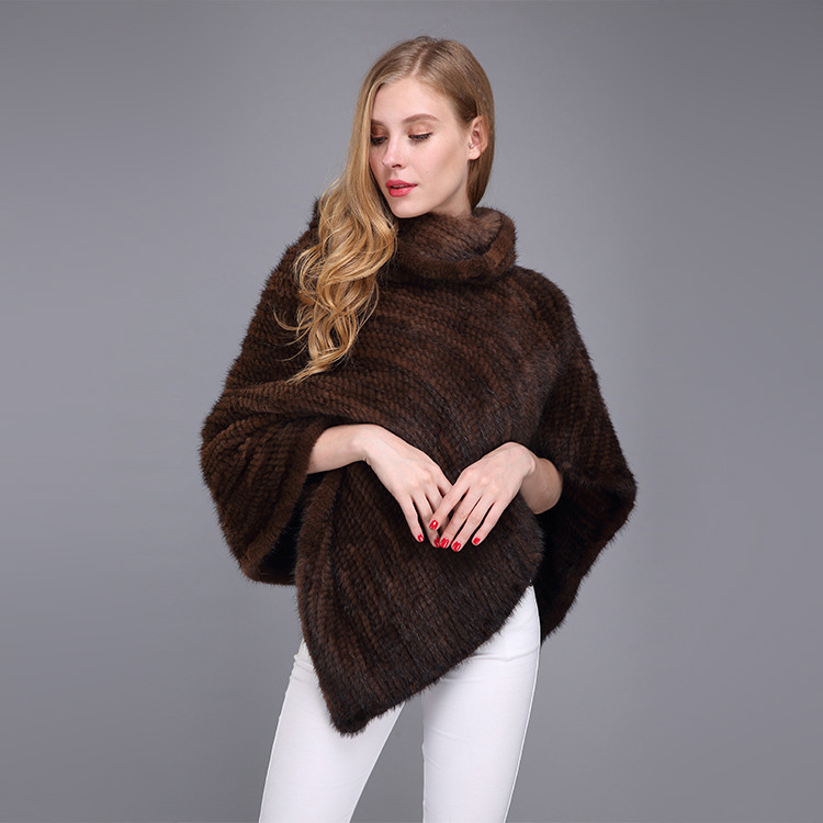 Knitted Mink Fur Poncho 974 Details 11
