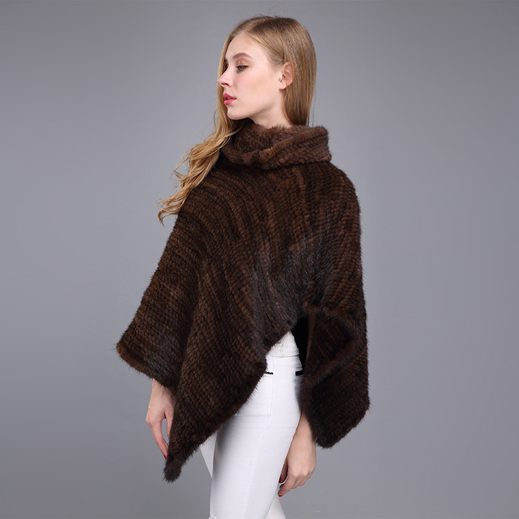 Knitted Mink Fur Poncho 974 Details 15