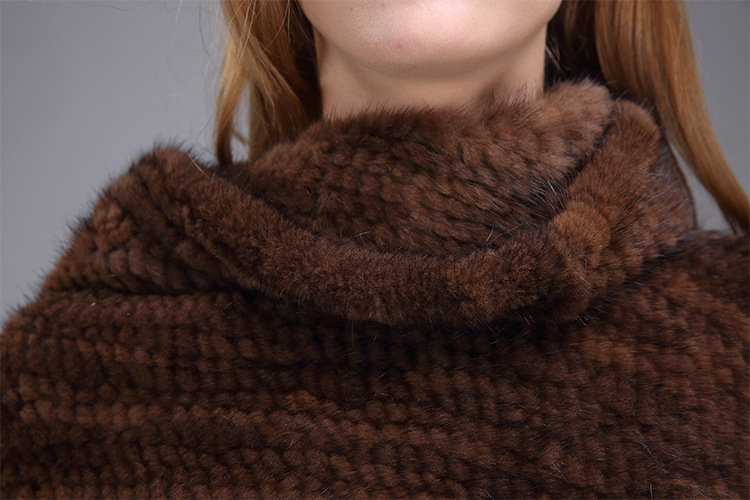 Knitted Mink Fur Poncho 974 Details 17