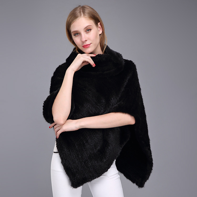 Knitted Mink Fur Poncho 974 Details 2