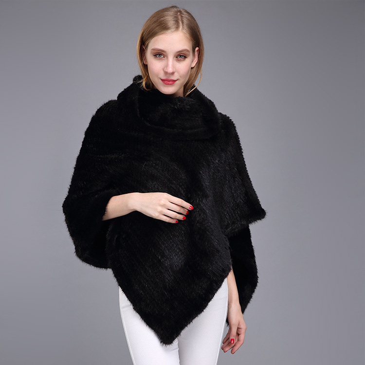 Knitted Mink Fur Poncho 974 Details 3