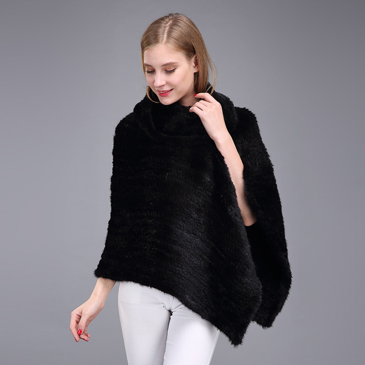 Knitted Mink Fur Poncho 974 Details 4