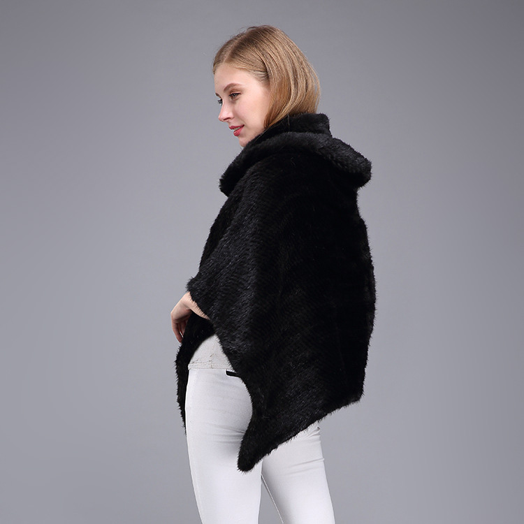 Knitted Mink Fur Poncho 974 Details 7