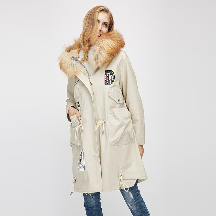 Red Fox Fur Trimmed Hooded Parka with Detachable Rex Rabbit Fur Liner 975 Details 10
