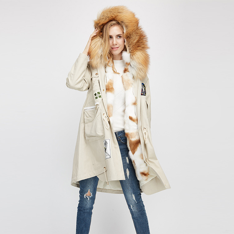 Red Fox Fur Trimmed Hooded Parka with Detachable Rex Rabbit Fur Liner 975 Details 5