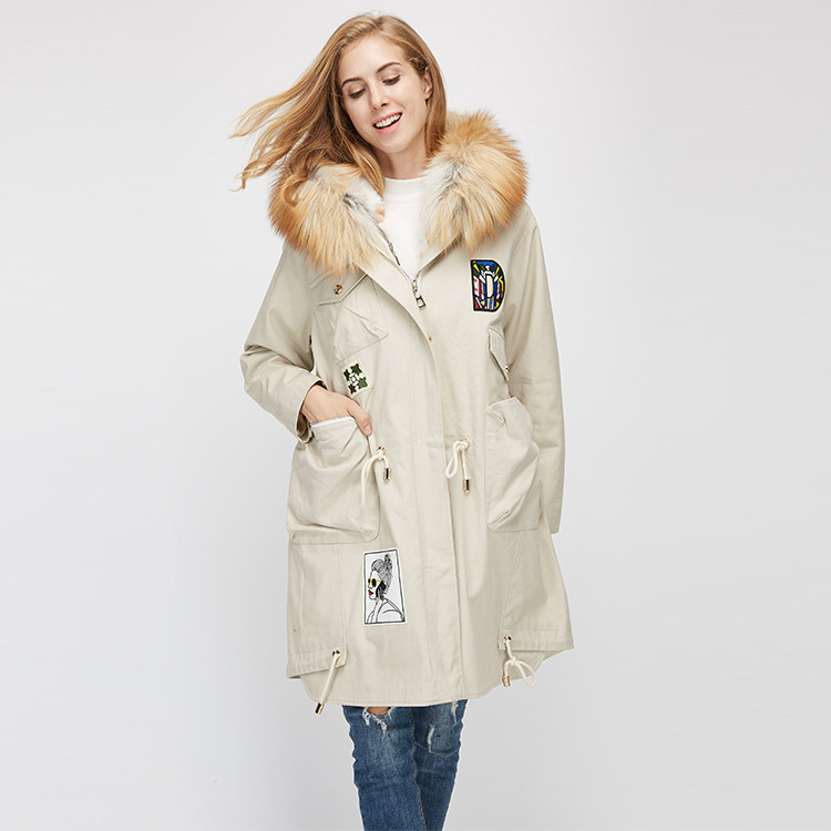 Red Fox Fur Trimmed Hooded Parka with Detachable Rex Rabbit Fur Liner 975 Details 8