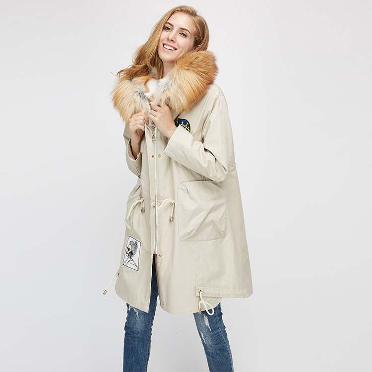 Red Fox Fur Trimmed Hooded Parka with Detachable Rex Rabbit Fur Liner 975 Details 9